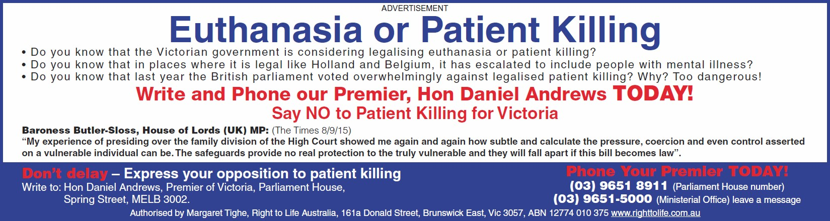 Euthanasia banner - contact Premier Daniel Andrews