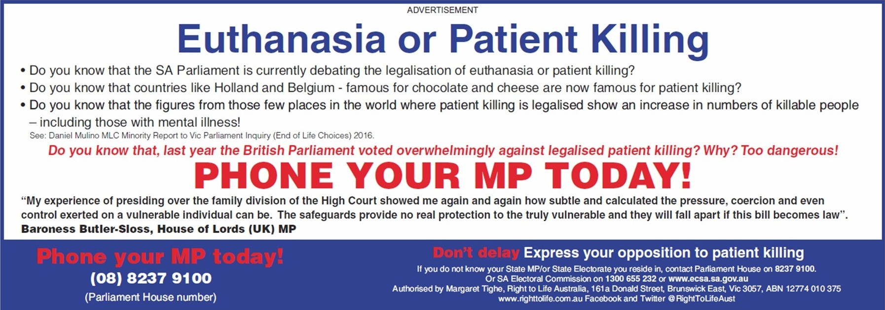 South Australia euthanasia 2016