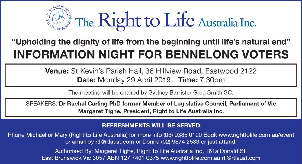 Bennelong 2019 election event flyer